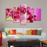 LARGE CANVAS Wall Art - Pink Orchid Photo Print on Canvas 5 Panels Stretched - Ready to Hang - Large Size Art Canvas
