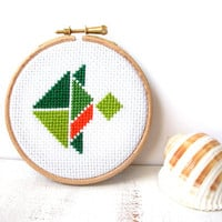 Tropical fish hoop art, cross stitch, nursery wall art, kids wall decor, kids room decor, tangram shape