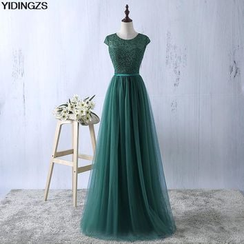 YIDINGZS Green Evening Dress 2017 New Arrive Lace Tulle A-line Formal Longo Robe De Soiree Party Dress