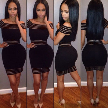 Sexy Women Off Shoulder Bandage Cocktail Party Bodycon Pencil Dress Clubwear = 1931388292
