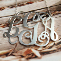"Sterling Silver Monogram Necklace -2"" Initials Monogram Necklace Personalized Monogrammed Nameplate Necklace Letter Jewelry-%100 Handmadee"