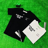 OFF WHITE 2018 summer limited double-line letters for men and women couples T-shirt F-XMCP-YC WHITE
