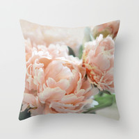 Peach Peonies Throw Pillow by Lisa Argyropoulos | Society6