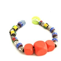 Wooden Beaded Wax Cord Bracelet for Women, Funky Unique Jewelry, One of a Kind OOAK, Earth Toned
