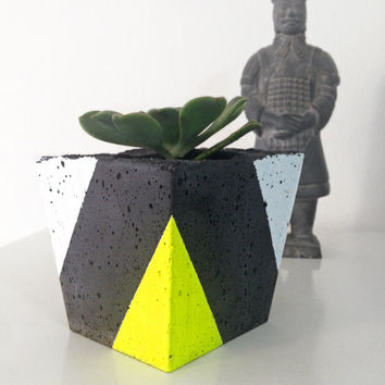 Handmade Fluro Geometric Concrete Planter Cement Pot for succulent plant or cactus Indoor workspace industrial handmade home decor fluoro