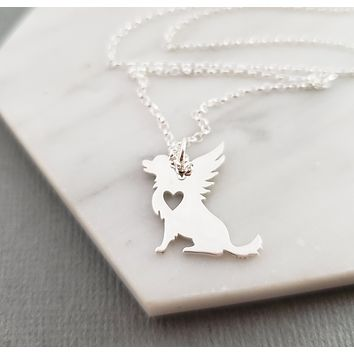 Dog Angel Wing Charm - Sympathy Pet Loss Charm - Sterling Silver Necklace