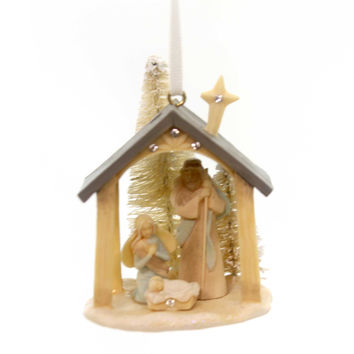 Foundations NATIVITY HANGING ORNAMENT. Polyresin Holy Family Creche 4047725