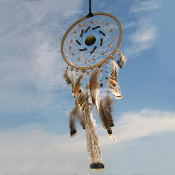 Brown Dream Catcher, Large  Dream Catcher, Dreamcatcher, Heavenly dream, handmade,  shell, wooden beads, feathers