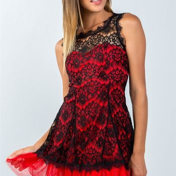 Red Sleeveless Lace Contrast Tulle Hem Dress