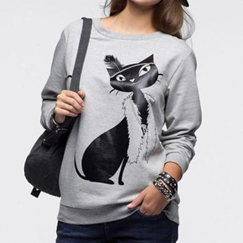 womens gray cat sweater gift 23  number 1