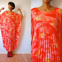 Vtg Pleated Tropical Floral Print Orange Maxi Kaftan Dress