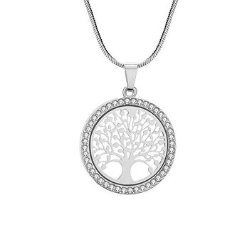 Tree of Life Round CZ Pendant Necklace