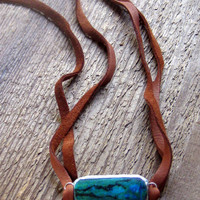 Turquoise Leather Choker Necklace Bohemian Jewelry