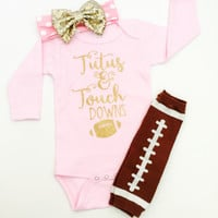Pink Edition Tutus & Touchdowns Glitter Baby Girl Football Outfit bodysuit, Baby Shower Gift for Baby Girl