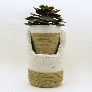 Concrete Planter, Plant Stand, Cement Planter, Unique Planter, Succulent Planter, Indoor Planter, Office Plants, Terracotta Pot, White