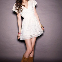 Plunging Neckline Elastic Waist Short Sleeve Mini Lace Dress **FREE SHIPPING** by Three Letter Word