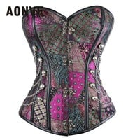 AONVE  Women Steampunk Corset Sexy Lingerie Purple Corsage Corsets And Bustiers Slimming Steel Boned Bodice Gothic Corselet