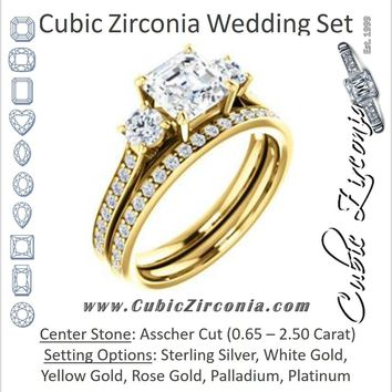 CZ Wedding Set, featuring The Tess engagement ring (Customizable Asscher Cut Trellis-Enhanced Bridge Setting with Semi-Pavé Band)