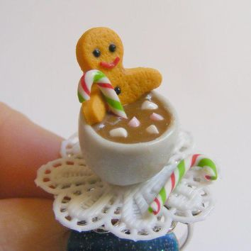 Gingerbread Man And Hot Chocolate Miniature Food Ring Miniature Food Jewelleryhandmade Ringmini Food Jewelrychristmas Ring