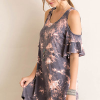 Tie-Dye Printed Open Shoulder Tent Dress