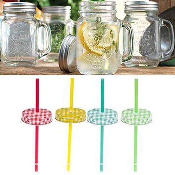 Glass Mason Jar Handled Mugs Gingham Lids (Set/4)