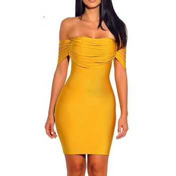 Oly- Off Shoulder Bodycon Bandage Mini Dress