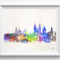 Praha Skyline, Czech Republic, Watercolor, Poster, Prague, Print, Bedroom, Cityscape, City Painting, Illustration Art, Europe [NO 427]