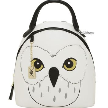 Licensed cool Harry Potter Hedwig Snow Owl Mini Backpack Purse Letter Bag Charm Faux Leather