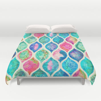 Watercolor Ogee Patchwork Pattern Duvet Cover by Micklyn