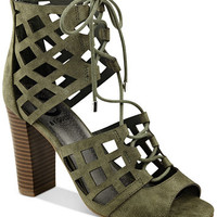 G by GUESS Iniko Caged Lace-Up Sandals | macys.com