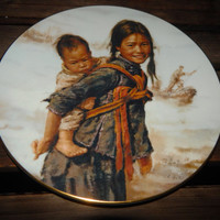 Mother's Day Gift - Girl With Little Brother Collectors Plate by Master Kee Fung Ng-1979 by Artists Of The World Children of Aberdeen