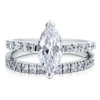 Sterling Silver 925 Marquise Cubic Zirconia Solitaire Ring Set #r407