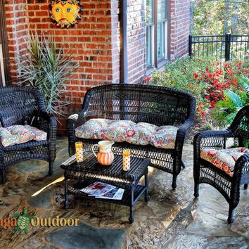 Portside Wicker 4 Piece Conversation Set by Tortuga Outdoors