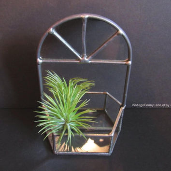 Small Handmade Vintage Stained Glass Mirror Wall Hanging / Shelf, Made in Germany