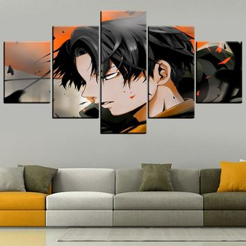 Cool Attack on Titan Combinatorial Art Modular Painting 5 Panel Anime  Levi Ackerman Poster Modern Home Decor Wall Artwork Print Type AT_90_11