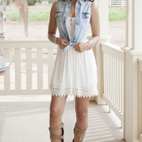 Denim Tie Sleeveless Shirt