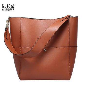 BRIGGS High Quality Split Leather Women Bucket Tote Bags Vintage Woman Handbags Soft Women's Shoulder Bags bolsas femininas