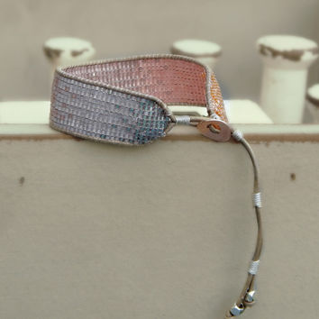 Ombre Copper to Silver tone Hand Beaded Cuff Bracelet