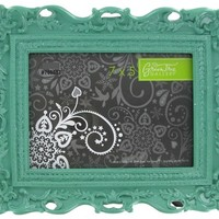 "7"" x 5"" Turquoise Glossy Ornate Resin Frame 
