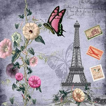 5D Diamond Painting Pink Butterfly Eiffel Tower Post Card Kit
