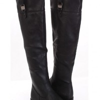 Black Faux Leather Buckle Strap Over The Knee Flat Boots