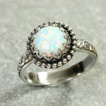 Opal Ring, Thick Floral Band, Sterling Silver, White Lab Opal, Gallery Crown Beaded Setting, Princess Ring, Vintage Style, Promise Ring
