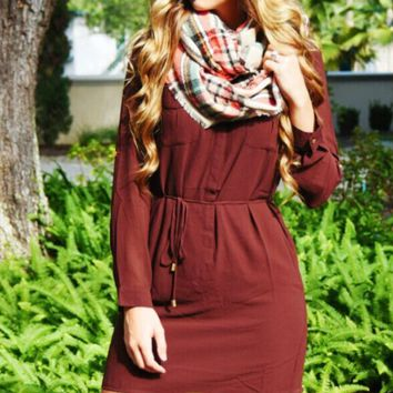 Red Wine Drawstring Long Sleeve Dress