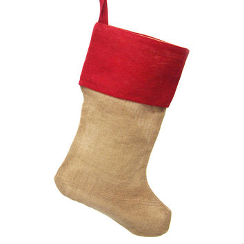 Burlap Natural Christmas Stocking w/ Red Cuff, 24-inch