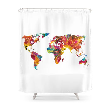 Society6 Map Of The World 2 -Colorful Abstract Art Shower Curtains