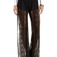 Sheer Lace Palazzo Pants by Charlotte Russe - Black