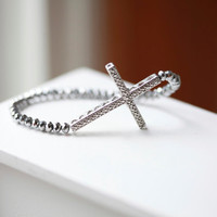 Silver Crystal Cross Bracelet  - Silver Cross and Siver Crystal Beaded Bracelet