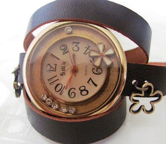 Stylish Double Circle Dial Pu Leather Band Quartz Movement Wrist Watch. 2012 New Orlogin Style Design. 64 Dollars Only  FREE SHIPPING