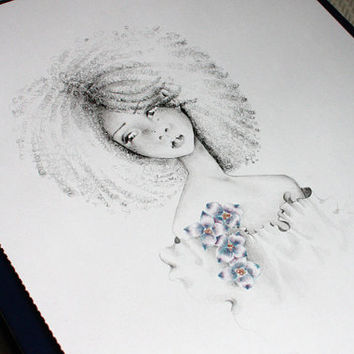 Pencil Drawing OOAK Original Pencil Drawing Illustration Fine Art Petty Girl Pencil Drawing for her, girls room