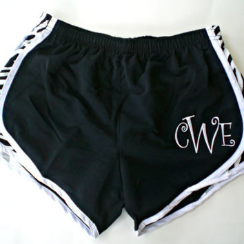 Monogrammed Zebra Print Running Shorts Custom Embroidery Beach, Yoga, Athletic Wear